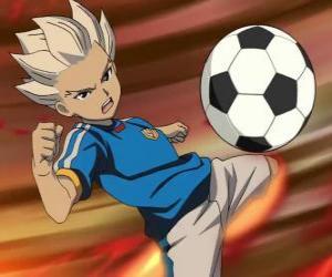 Puzzle Shuya Gouenji ou Axel Blaze, attaquant et meilleur buteur de l'équipe de Raimon dans les aventures de Inazuma Eleven