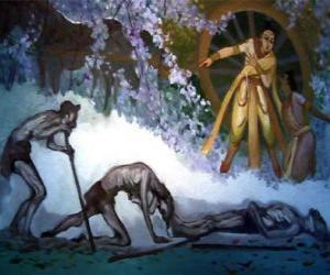 Puzzle Siddhartha Gautama et sa première vision de la vieillesse