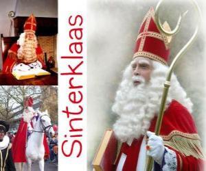 Puzzle Sinterklaas. Saint-Nicolas apporte des cadeaux aux enfants dans les Pays-Bas, la Belgique et autres pays d'Europe centrale