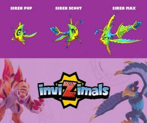 Puzzle Siren en trois phases Siren Pup, Siren Scott et Siren Max, Invizimals