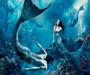 Puzzle Sirènes sur les fond marin