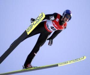 Puzzle Skier en plein vol en sautant d'un trampoline