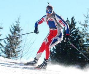 Puzzle Skieur en plein effort dans la pratique du ski de fond ou ski nordique