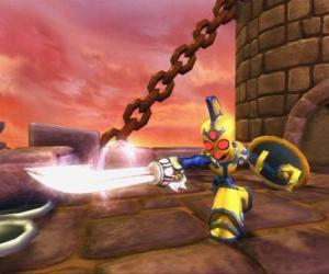 Puzzle Skylander Chop Chop, un guerrier dur avec épée et bouclier. Skylanders Morts vivants