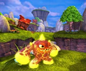 Puzzle Skylander Eruptor, une créature jette des boules de feu et des flammes. Skylanders Feu