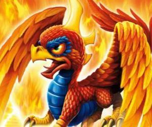 Puzzle Skylander Sunburn, un dragon ailé. Skylanders Feu