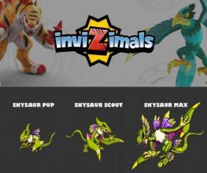 Puzzle Skysaur en trois phases Skysaur Pup, Skysaur Scott et Skysaur Max, Invizimals