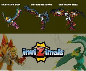 Puzzle Skytalon en trois phases Skytalon Pup, Skytalon Scott et Skytalon Max, Invizimals