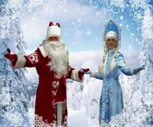 Puzzle Snegurochka ou la Fée des Neiges et  Ded Moroz ou Grand-père Gel, le traditionnelle personnages russe de Noël