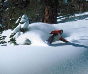 Puzzle Snowboarder descente dans la neige fraîche
