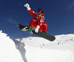 Puzzle Snowboarder faire un truc ou une astuce
