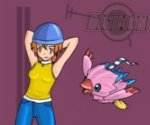 Puzzle Sora jouant avec son Biyomon Digimon. Sora Takenouchi est le plus responsable et mature du groupe