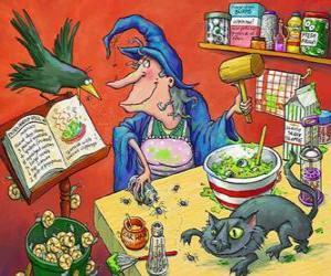 Puzzle Sorcière à préparée une potion magique avec le bizarre ingrédients