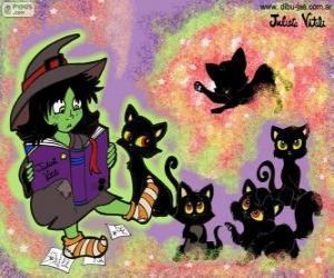 Puzzle Sorcière avec leurs chats noirs