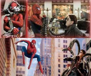 Puzzle Spiderman de lutte contre le méchant Docteur Octopus, l'un de ses plus grands ennemis