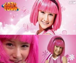 Puzzle Stéphanie, la fille protagoniste de Lazy Town qui aime la couleur rose