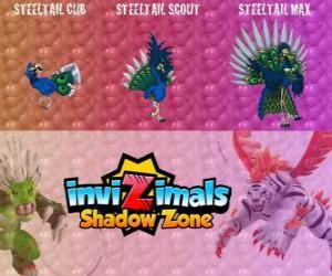 Puzzle Steeltail Max. Invizimals Shadow Zone. Oiseau spectaculaire, sa queue est une arme puissante faite de plumes d'acier