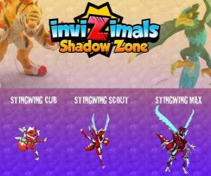 Puzzle Stingwing Cub, Stingwing Scout, Stingwing Max. Invizimals Shadow Zone. Le premier Invizimal capturé pour Kenichi, un insecte attractif et dangereux