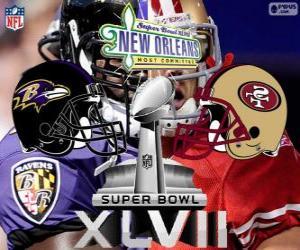 Puzzle Super Bowl 2013. San Francisco 49ers vs Baltimore Ravens. Superdôme, New Orleans