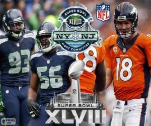 Puzzle Super Bowl 2014. Seattle Seahawks vs Broncos de Denver. MetLife Stadium, New Jersey, 2 février 2014