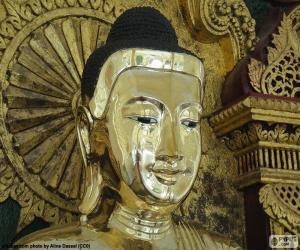 Puzzle Tête de Bouddha dorée