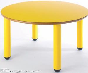 Puzzle Table ronde et jaune
