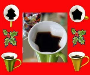 Puzzle tasses à café Noël formes