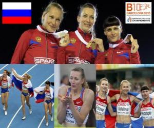 Puzzle Tatiana Firova champion de 400 m, Xenia Antonina Krivoshapka Ustalova et (2e et 3e) de l'athlétisme européen de Barcelone 2010