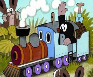 Puzzle Taupek, la petite taupe à une locomotive à vapeur
