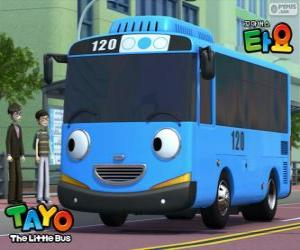 Puzzle TAYO un bus bleu joyeux et optimiste