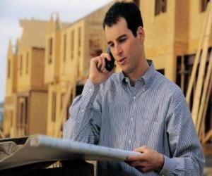 Puzzle Technicien en consultant un plan dans le travail de bâtiment - Architecte, agent de maîtrise ou ingénieur