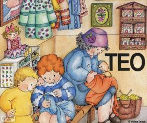 Puzzle Teo apprendre à coudre