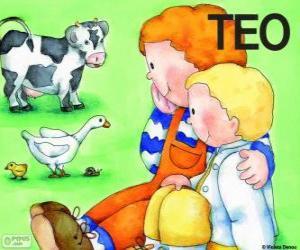 Puzzle Teo et sa soeur Clara avec animaux