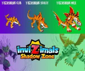 Puzzle Tigershark Cub, Tigershark Scout, Tigershark Max. Invizimals Shadow Zone. Les guerriers de la légende de l'Inde et le Sri Lanka