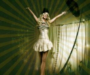 Puzzle Tightrope marche avec une fille habillée comme une ballerine et du cône chapeau marche sur la corde