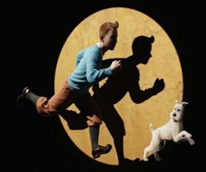 Puzzle Tintin avec son chien Milou qui court