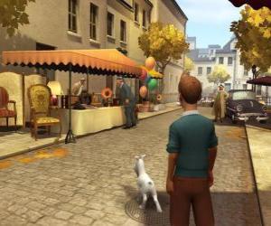 Puzzle Tintin avec son chien Milou marchant dans la rue