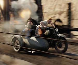 Puzzle Tintin conduire un side-car avec leurs amis dans un de ses aventures