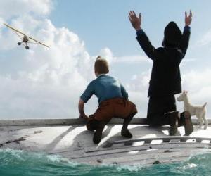 Puzzle Tintin, le Capitaine Haddock et Milou sur un bateau après son naufrage