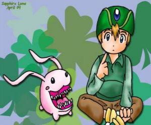 Puzzle TK et son digimon Tokomon, Takeru Takaishi est le plus jeune du groupe et frère cadet de Matt