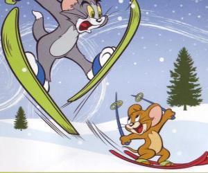 Puzzle Tom et Jerry à la neige avec des skis