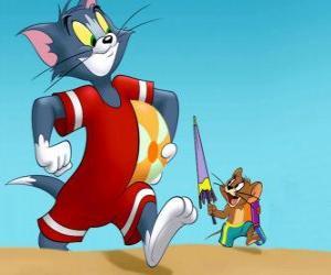 Puzzle Tom et Jerry sur la plage