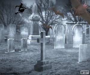 Puzzle Tombes d'un cimetière, Halloween