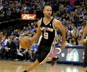 Puzzle Tony Parker jouant un jeu de basket-ball