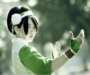 Puzzle Toph Bei Fong, Toph est une jeune fille aveugle de naissance qui accompagne Aang sur son voyage et d'enseigner la Terre - contrôle