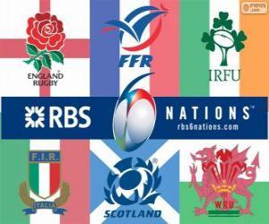 Puzzle Tournoi des Six Nations de rugby avec les participants : France, Italie, Angleterre, Ecosse et au pays de Galles et Irlande