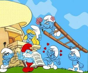 Puzzle Tous les Schtroumpfs sont en amour avec la Schtroumpfette