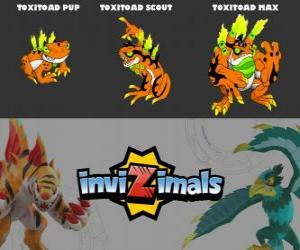Puzzle Toxitoad en trois phases Toxitoad Pup, Toxitoad Scott et Toxitoad Max, Invizimals