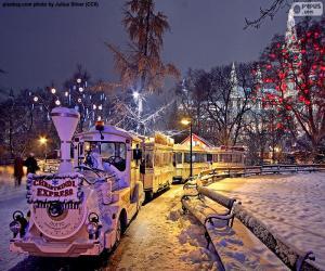 Puzzle Train de marché de Noël