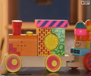 Puzzle Train en bois peint